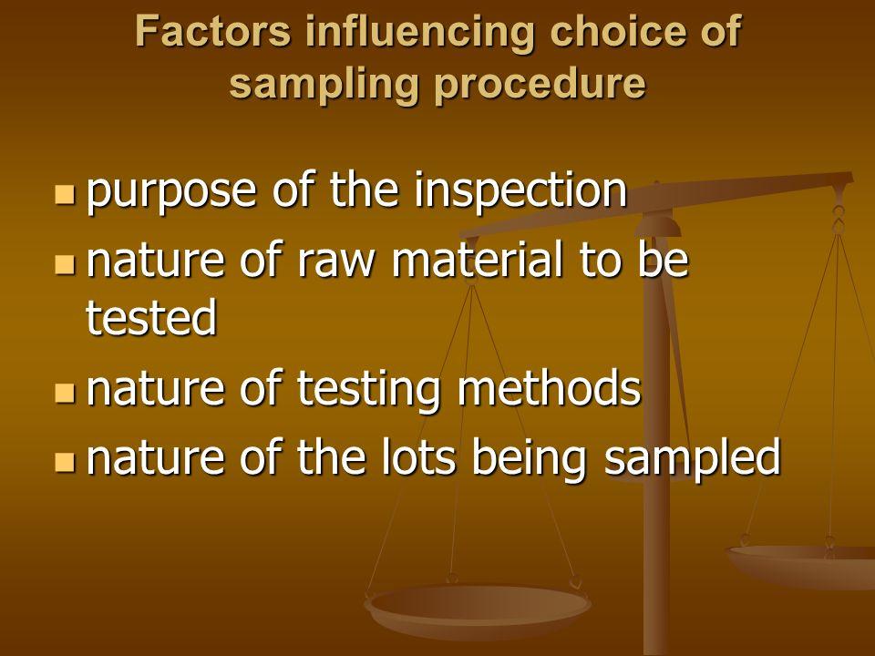 Factors influencing choice of sampling procedure