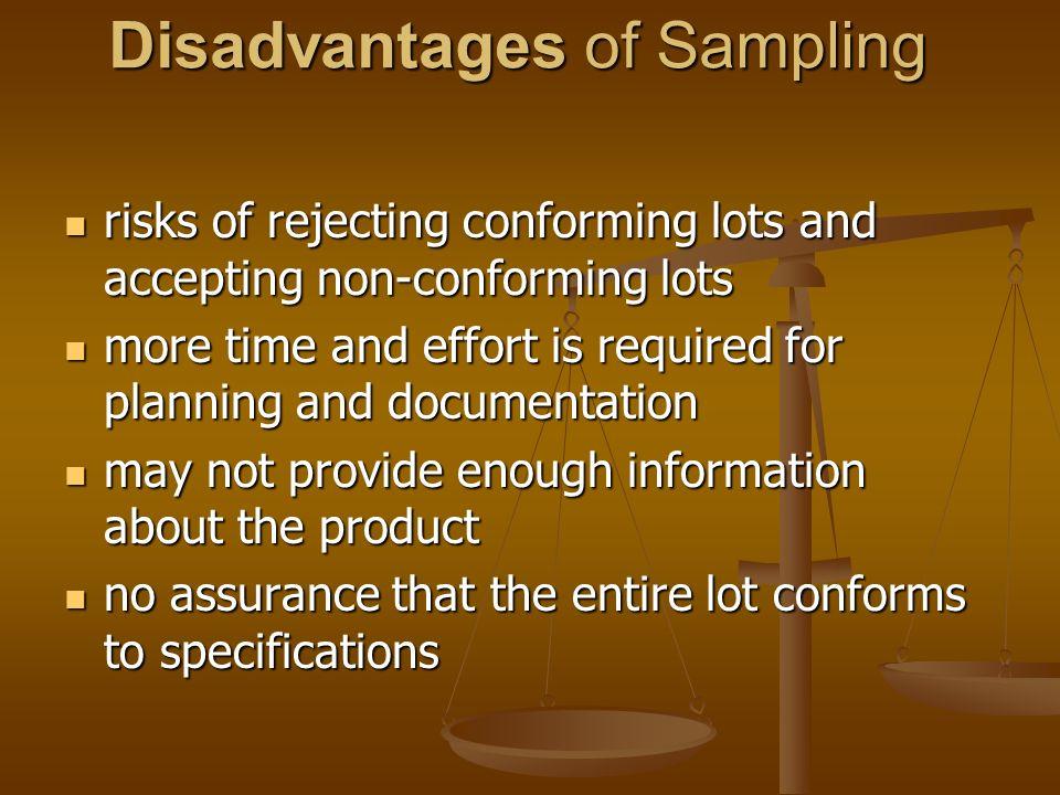 Disadvantages of Sampling