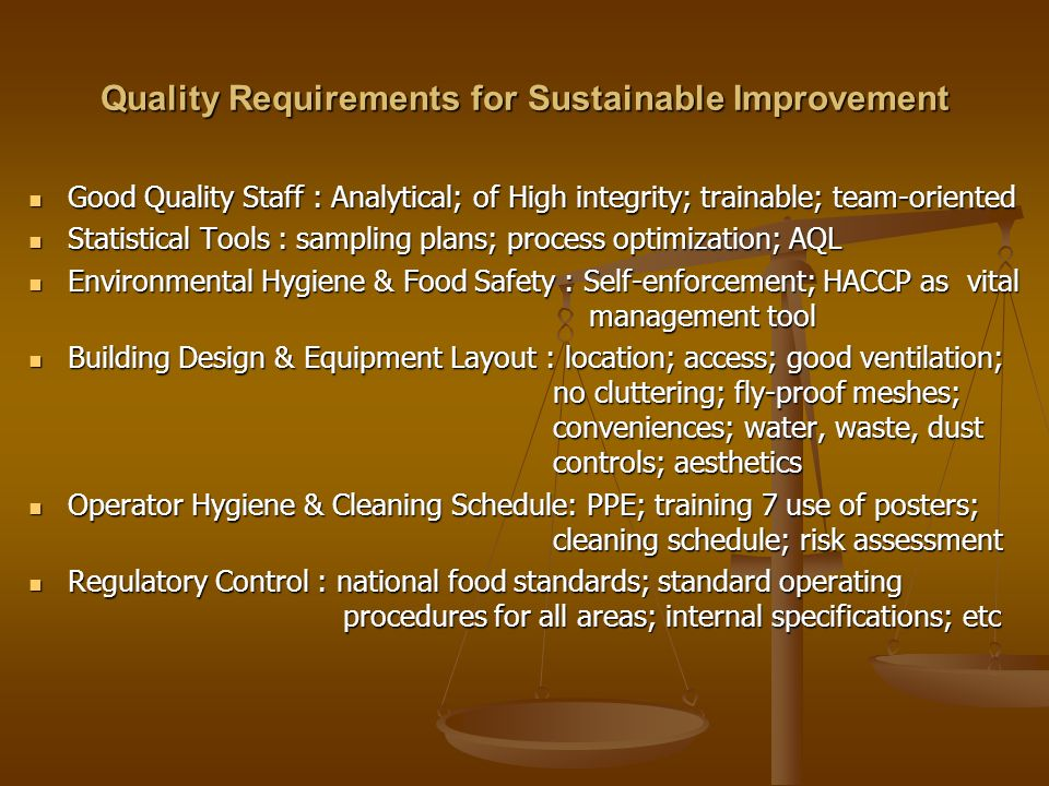 Quality Requirements for Sustainable Improvement