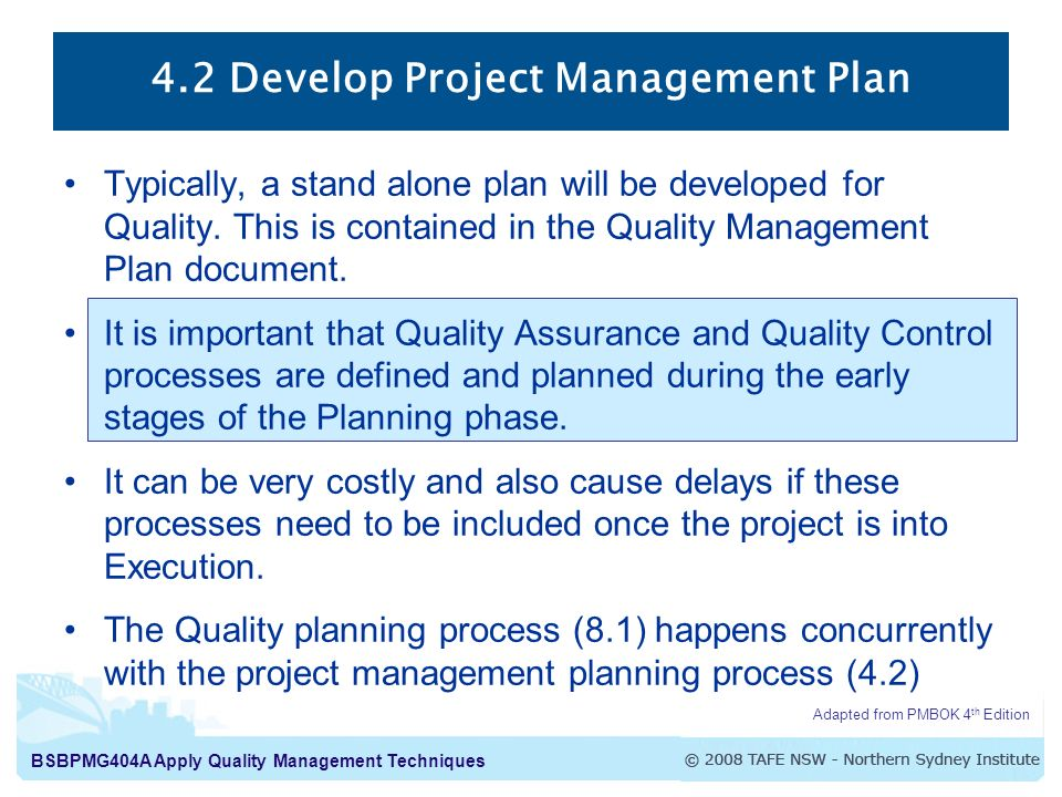 Apply Quality Management Techniques Week 8 Project Quality