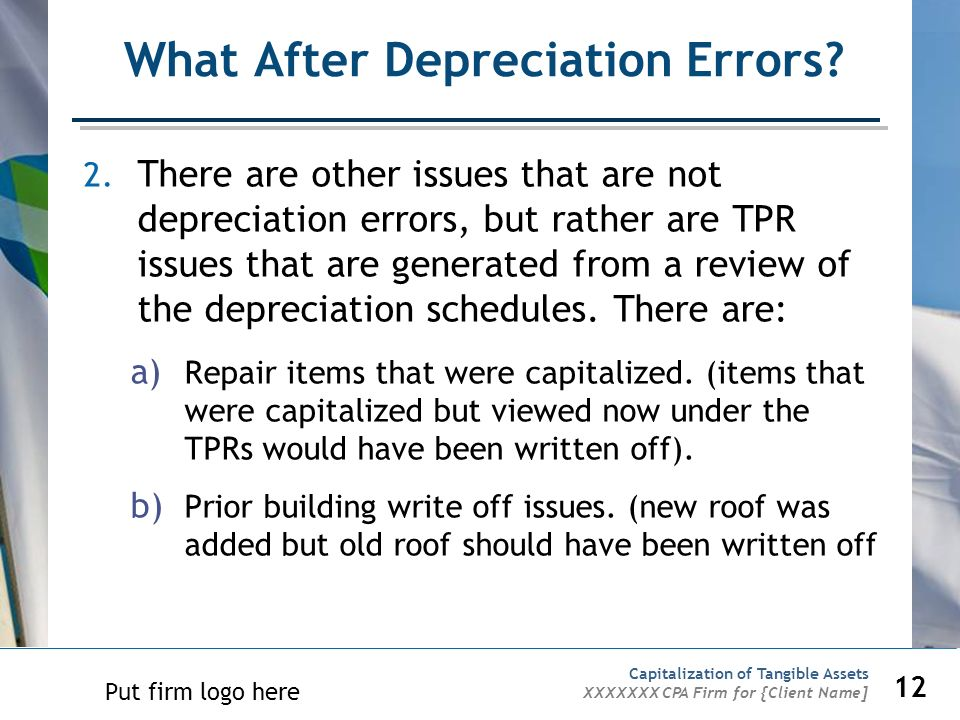 What After Depreciation Errors