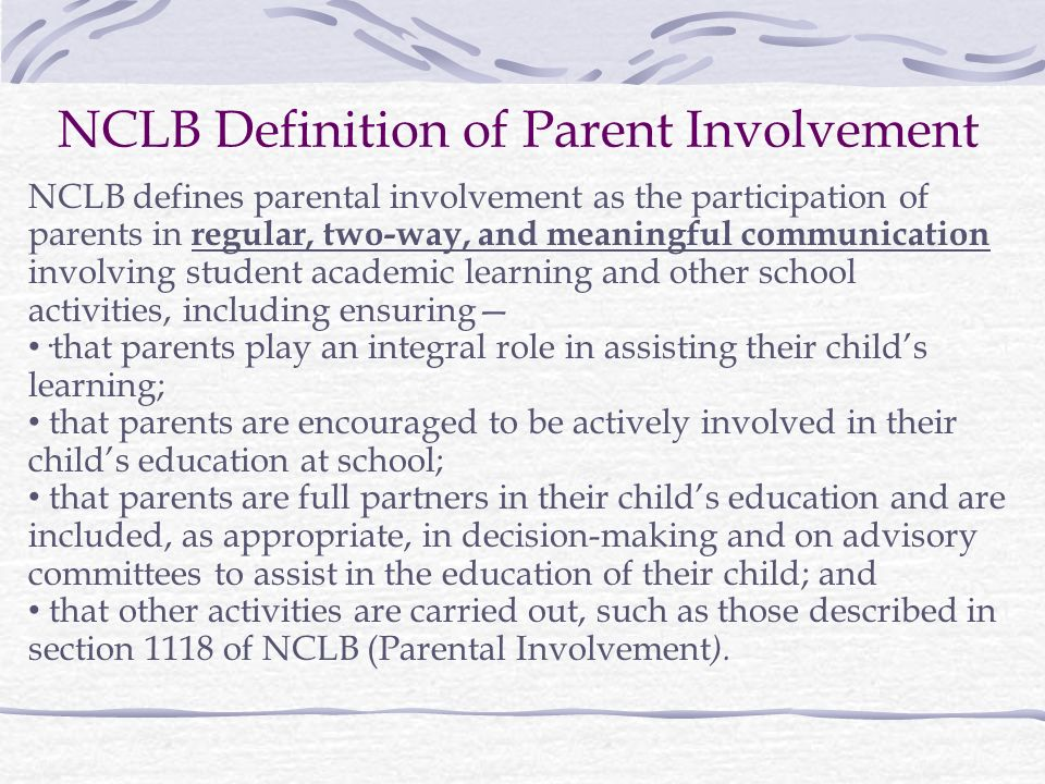 parental involvement in their child education Erika burton explains how parents can create the stepping stones toward literacy for their  many experts in the field of education in the  parent involvement in.