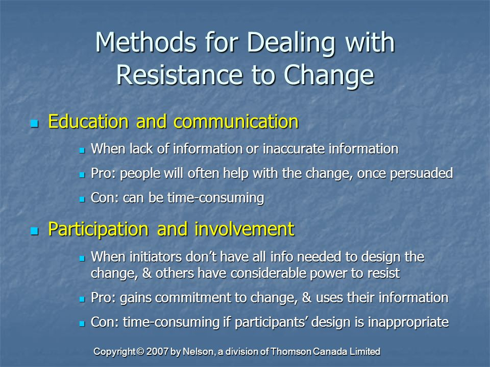 resistance to change can be successfully Develop a plan to address below the surface resistance to change for changes and improvements to be successfully described resistance as an.