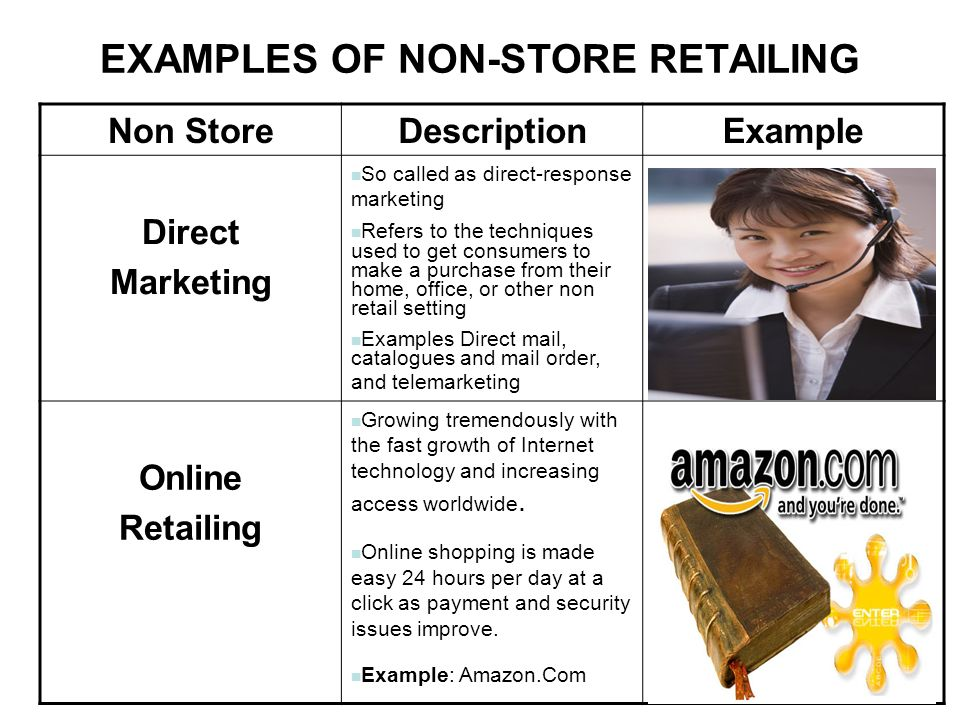 non store retailing Although, the development of non-store retailing is considered as a revolution in the retail sector, here is the list of the advantages of using non store retailing as compared to the conventional counterparts.