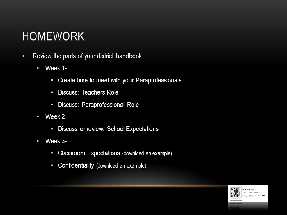 homework Review the parts of your district handbook: Week 1-