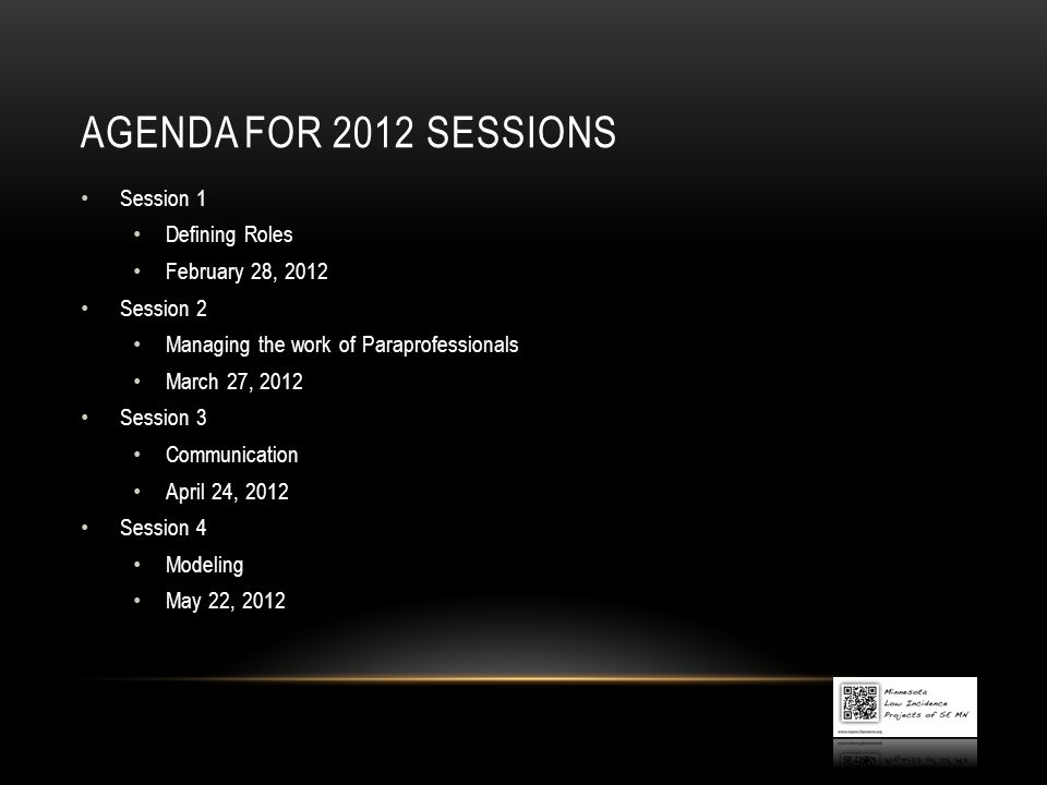 Agenda for 2012 sessions Session 1 Defining Roles February 28, 2012