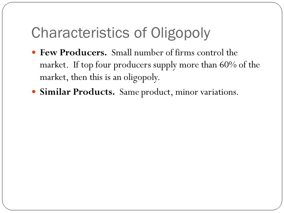 characteristics of oligopoly market and the supermarket industry in the uk Oligopoly versus monopoly competition  firms in oligopoly market have a certain degree of control over the  (2012) oligopoly, characteristics.