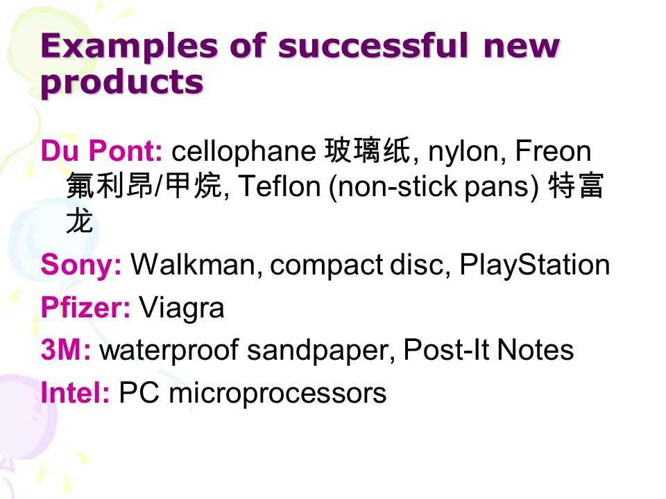 Examples of successful new products