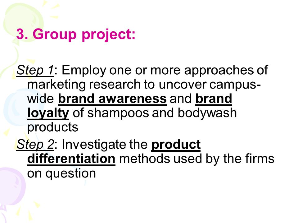 3. Group project: