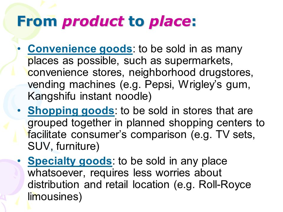 From product to place: