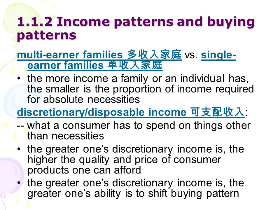 1.1.2 Income patterns and buying patterns