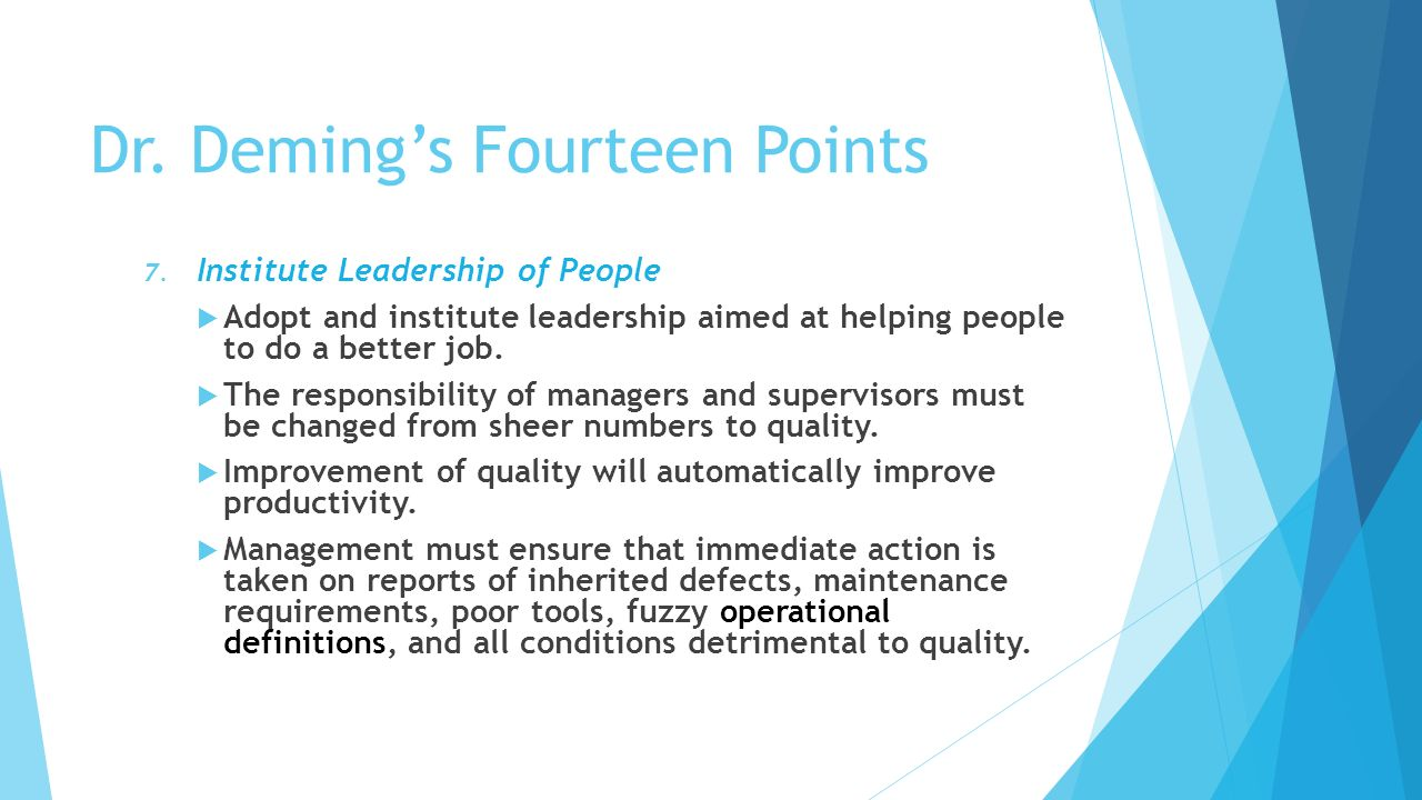 an essay on the fourteen points for management of deming In this book, deming set out 14 points which, if applied to us manufacturing industry, would he believed, save the us from industrial doom by the japanese the fourteen points of management of dr w edward deming represent for many people the essence of total quality management (tqm).