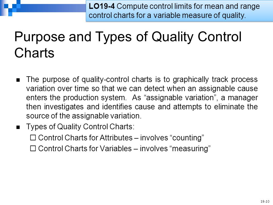 Types of control charts in quality control - Nature of a