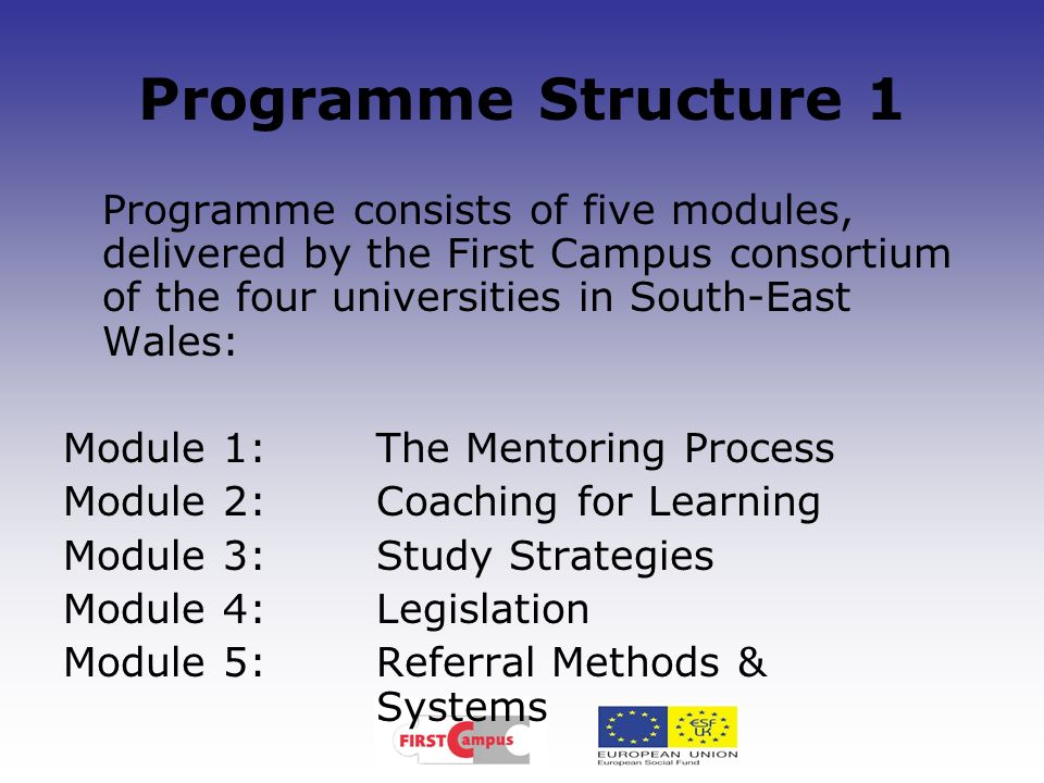 Programme Structure 1Programme consists of five modules, delivered by the First Campus consortium of the four universities in South-East Wales: