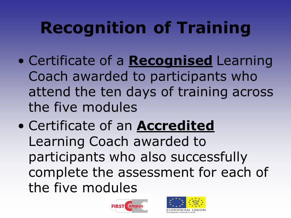 Recognition of Training