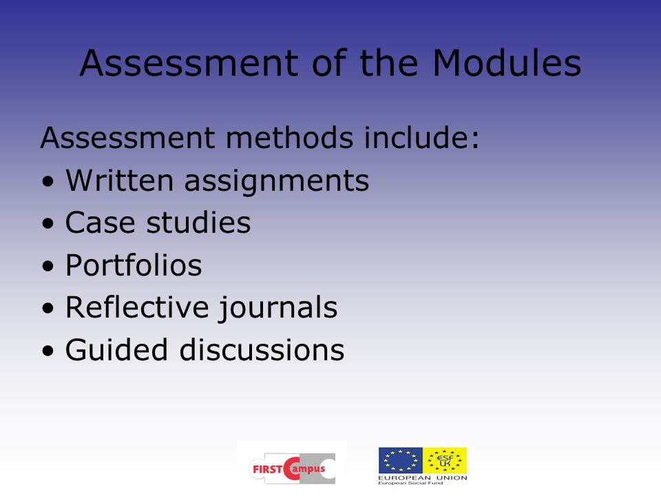 Assessment of the Modules