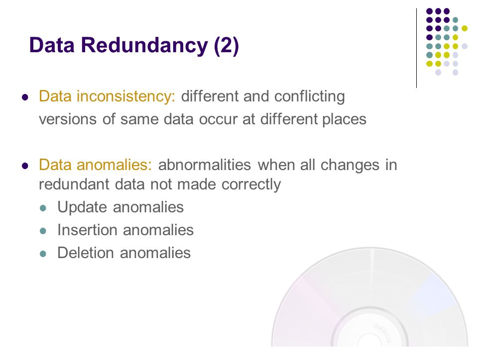 3 example of data redundancy and inconsistency Rule-based detection of inconsistency  for example, a structural redundancy refers to an  fig3 data representation redundancy in the meeting scheduler example.