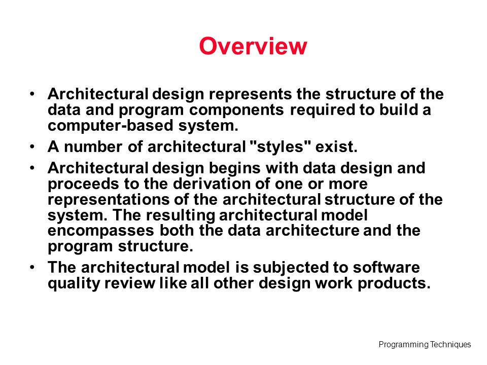 Overview Architectural Design Represents The Structure Of The Data And  Program Components Required To Build A