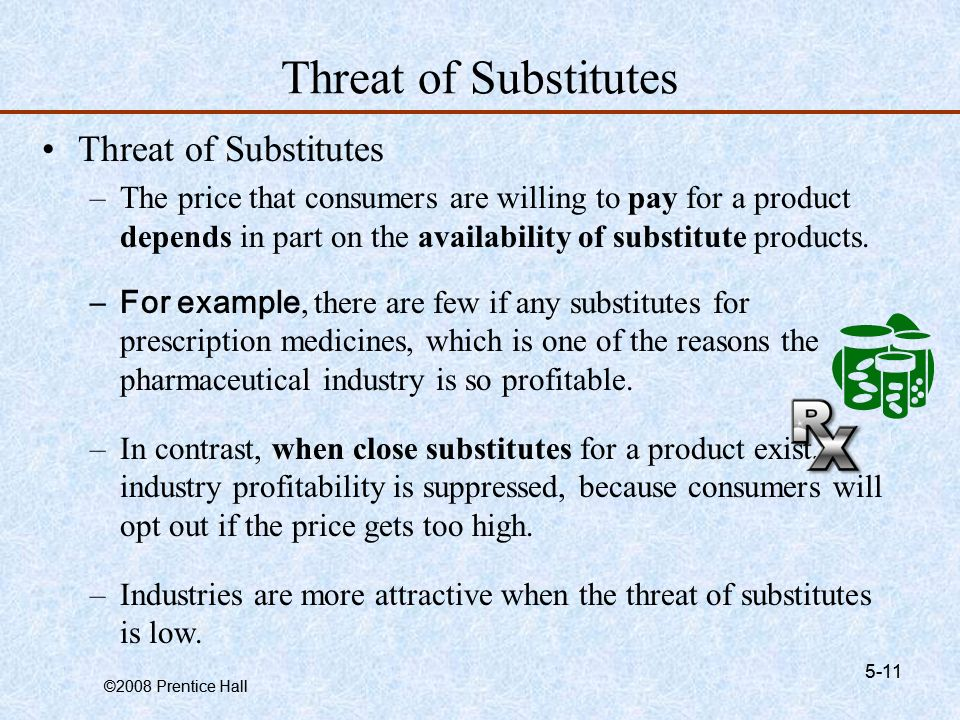 threat of substitutes product The threat of new entrants refers to the threat that new competitors pose to   other forces are competitive rivalry, bargaining power of buyers, threat of  substitutes,  when new competitors enter into an industry offering the same  products or.