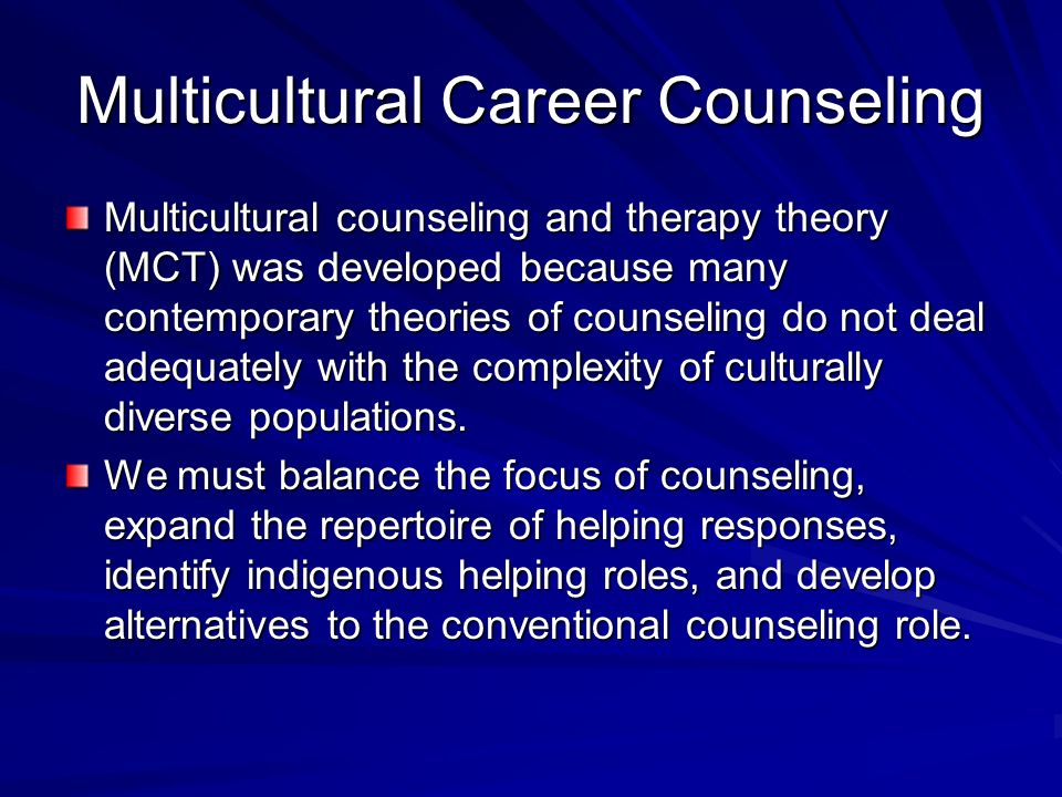 mental counseling and culturally diverse populations Counseling the culturally diverse :  the political dimensions of mental  counseling and therapy with racial/ethnic minority group populations counseling.