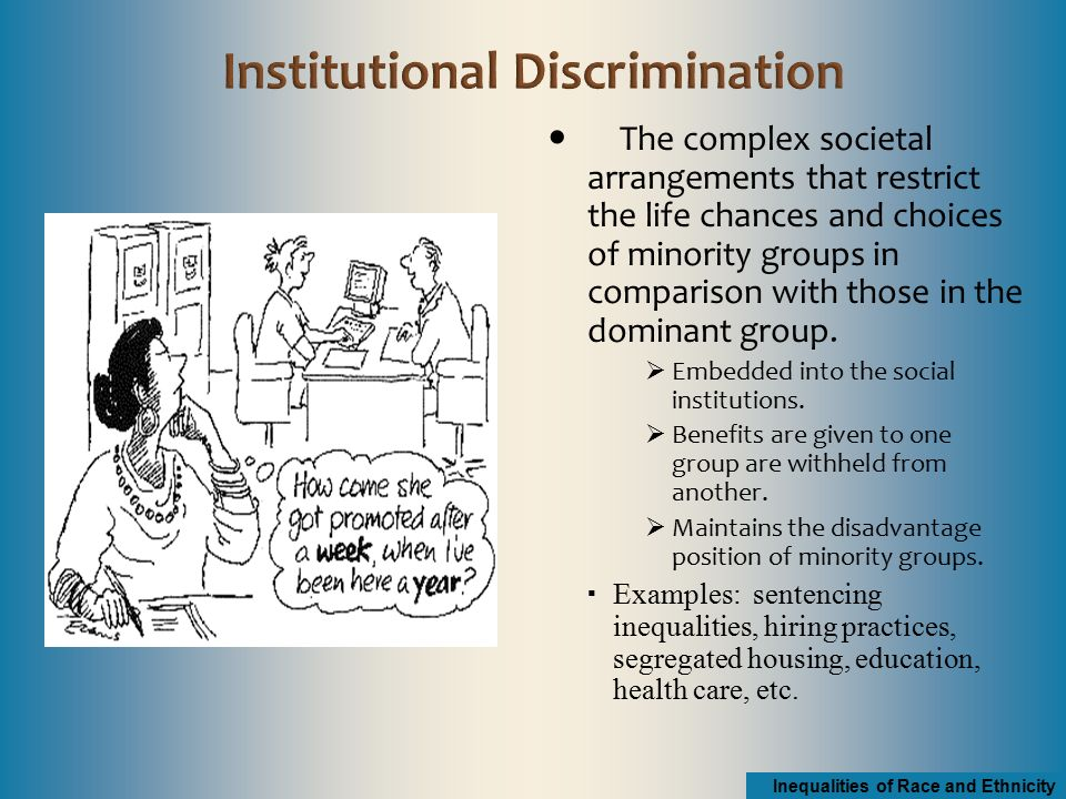 institutional discrimination The concept of institutional discrimination was created in part to emphasize that even though acts of individual racism and sexism were waning, these forms of oppression are still evident as a concept, institutional discrimination is trying to answer the riddle that i posed at the beginning of this post.