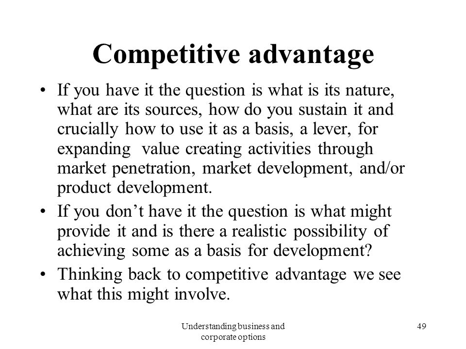 how products are developed to sustain competitive advantages 31 explain how products are developed to sustain competitive advantage competitive advantage is defined as strategic advantage which business entity has over others in the same competitive organisation, achieving it puts the business in a position within that business area.