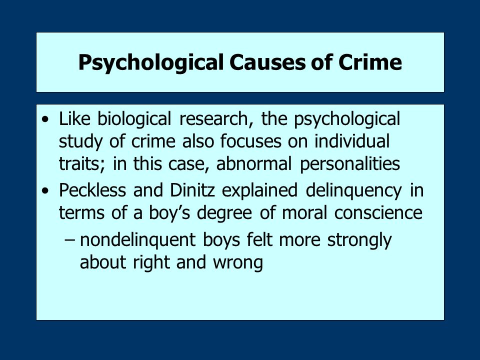 individual correlates of crime personality psychology essay Personality refers to individual differences in patterns of thinking, feeling and behaving the study of personality focuses on individual differences in particular personality characteristics and how the parts of a person come together as a whole.