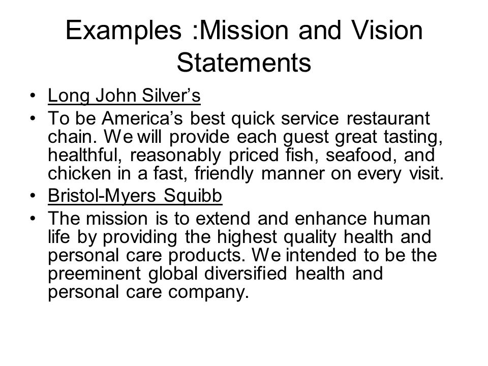 mission and vision statements examples pdf