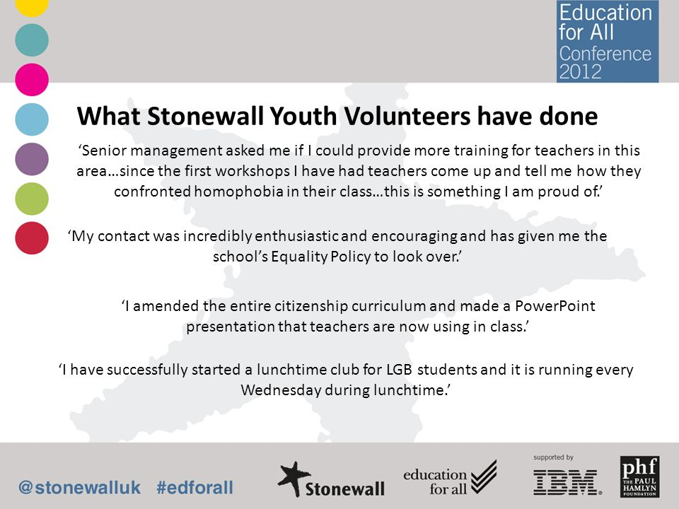 What Stonewall Youth Volunteers have done