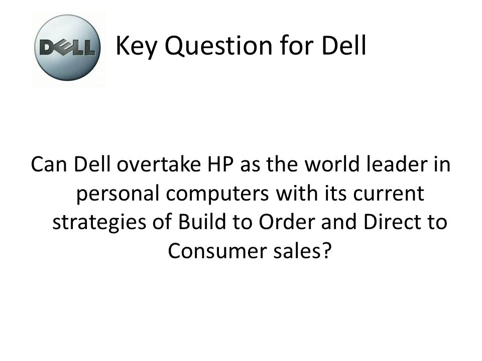 dell inc can it overtake hp as worldwide leader in personal computers Marketing management : knowledge and skills [j paul peter james h donnelly]  dell inc in 2008: can it overtake hewlett ' packard as the worldwide leader in.