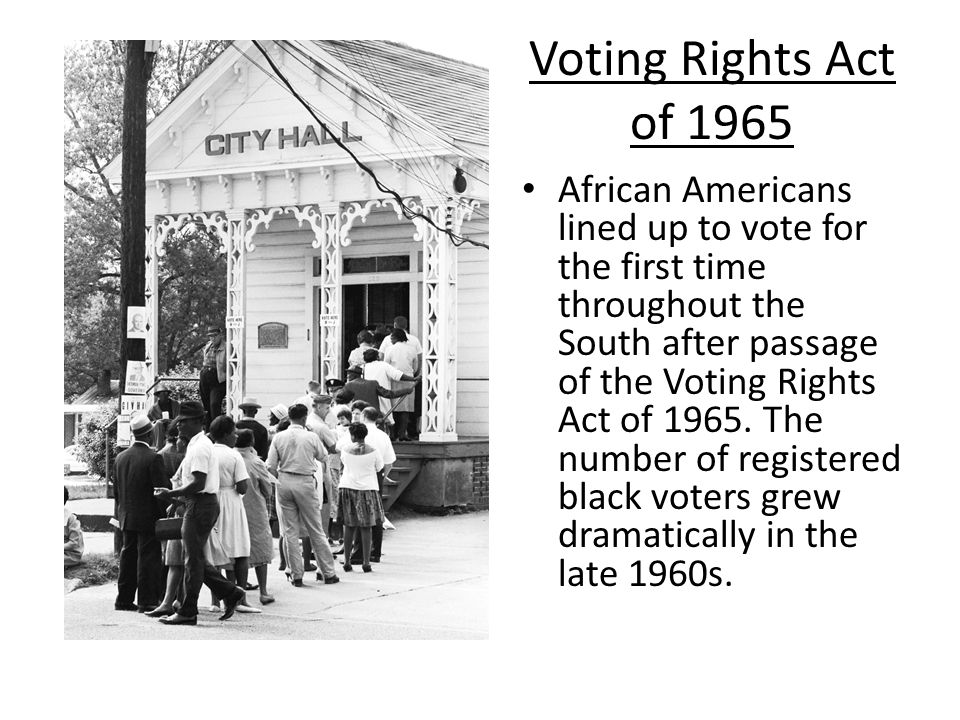 voting rights act of 1965 essay The voting rights act of 1965: background and overview congressional research service summary the voting rights act (vra) was successfully challenged in a june 2013 case decided by the.