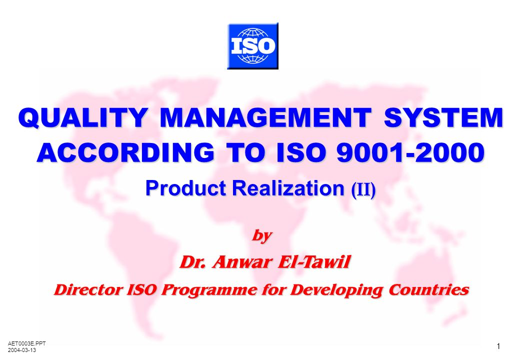 QUALITY MANAGEMENT SYSTEM ACCORDING TO ISO