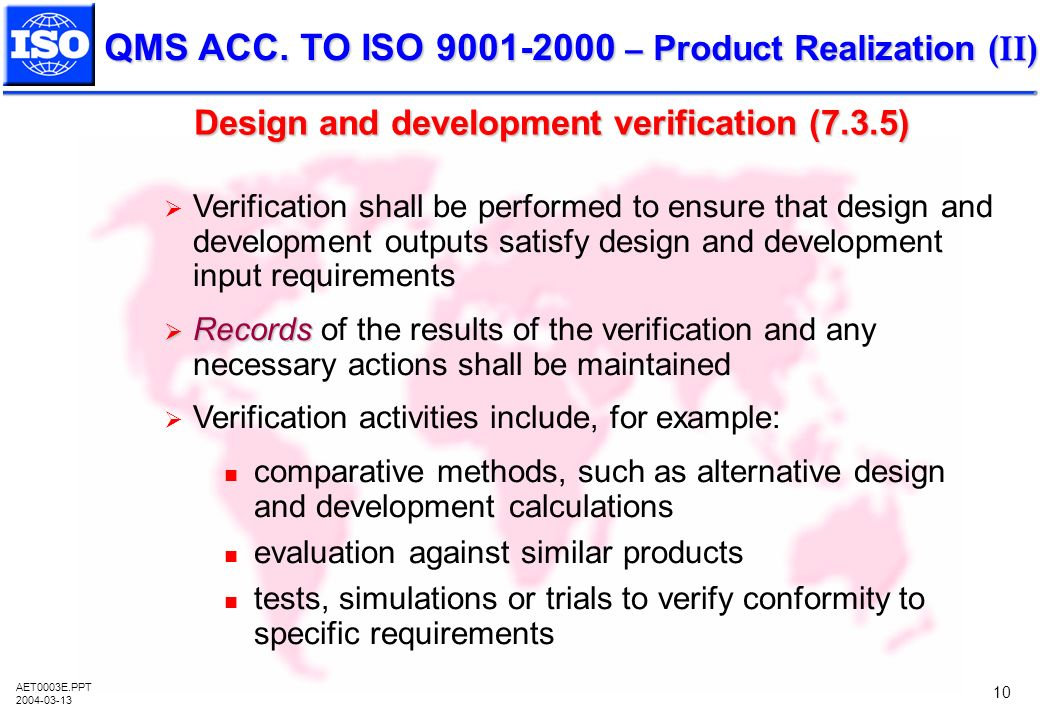 Design and development verification (7.3.5)