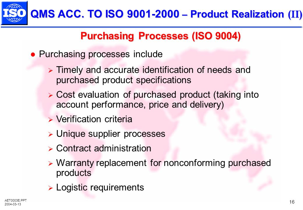 Purchasing Processes (ISO 9004)