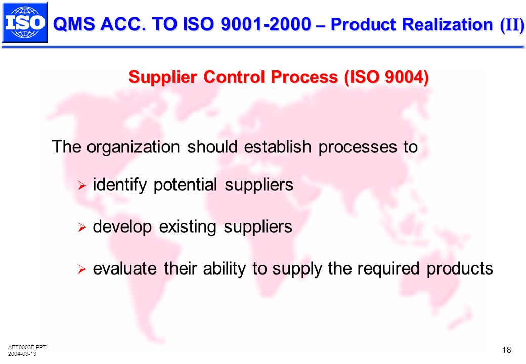 Supplier Control Process (ISO 9004)