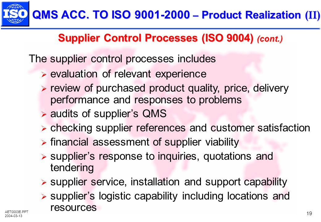 Supplier Control Processes (ISO 9004) (cont.)
