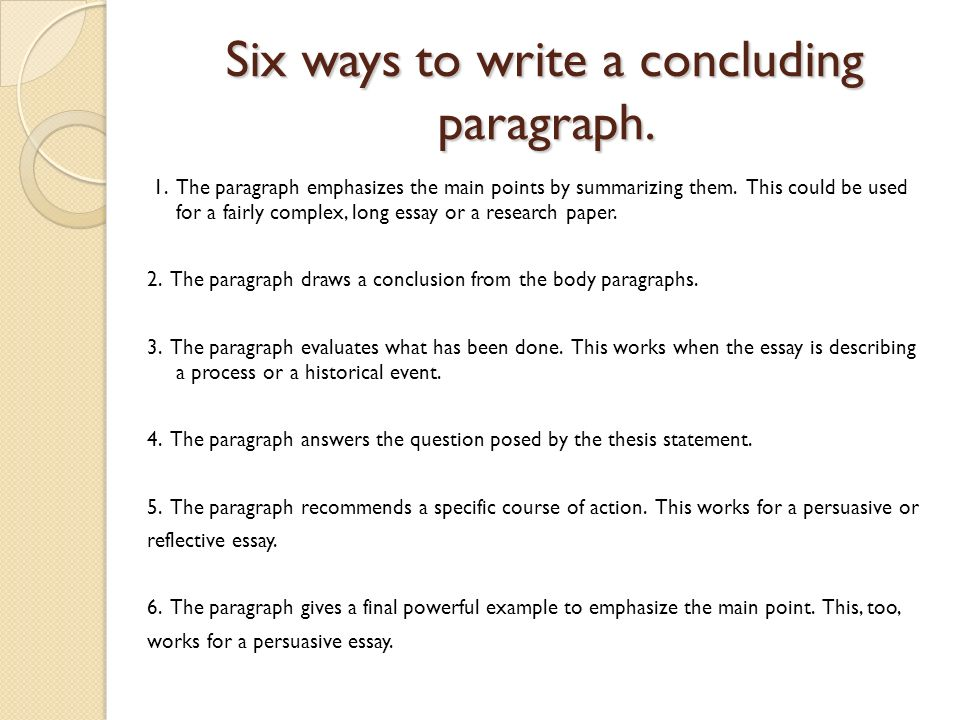 writing a conclusion to an essay example