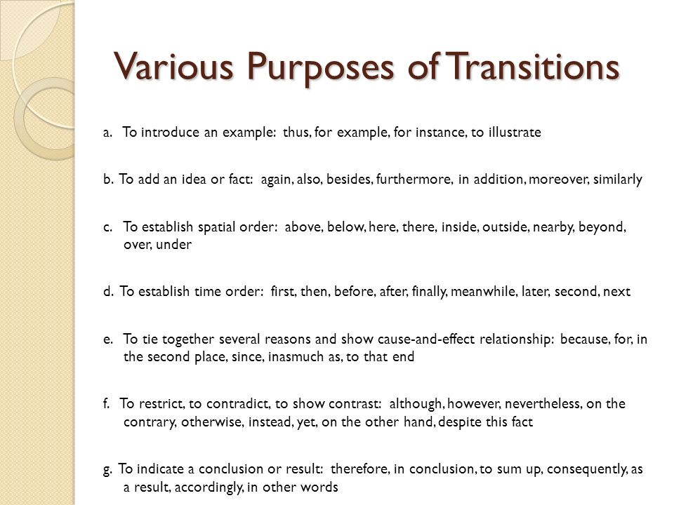 introduction transitions