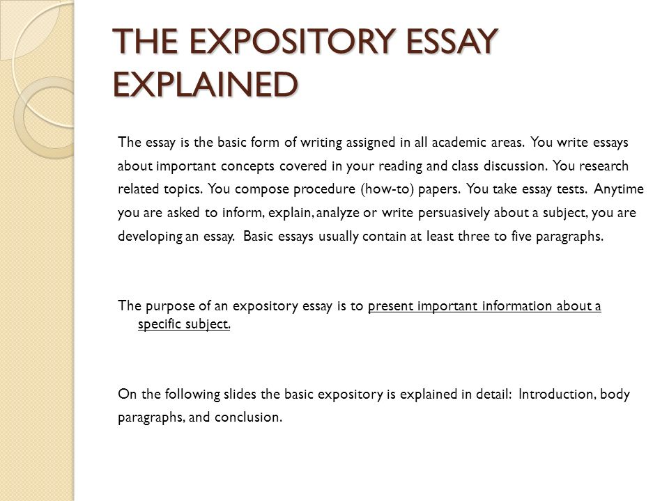 how many body paragraphs in an expository essay