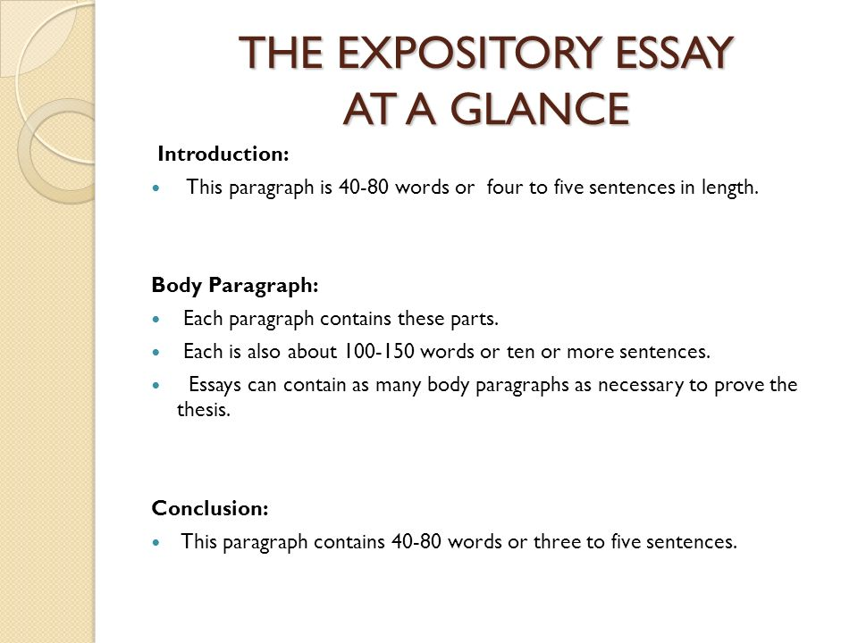 writing an introductory paragraph for an expository essay Usually, the expository essay is composed of five paragraphs the introductory paragraph contains the thesis or main idea the next three paragraphs, or body of the essay, provide details in support of the thesis the concluding paragraph restates the main idea and ties together the major points of essay.