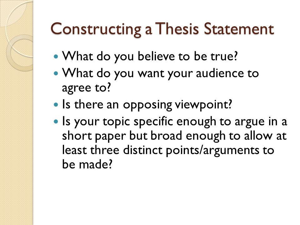 proving a thesis statement