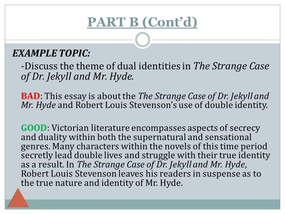 the literary essay ppt  part b cont d example topic