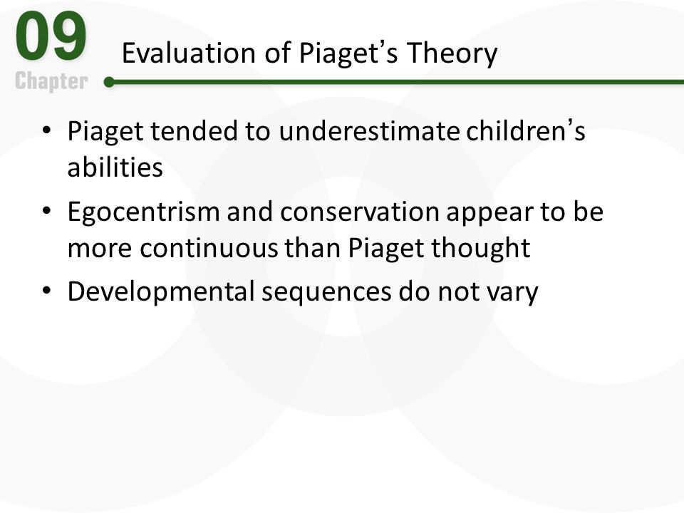 piagets theory underestimated childrens cognitive abilities Piaget's theory of cognitive development had a lasting impact on the fields of psychology and education most educational programs today are based around the idea that instruction should be geared towards a child's developmental level.