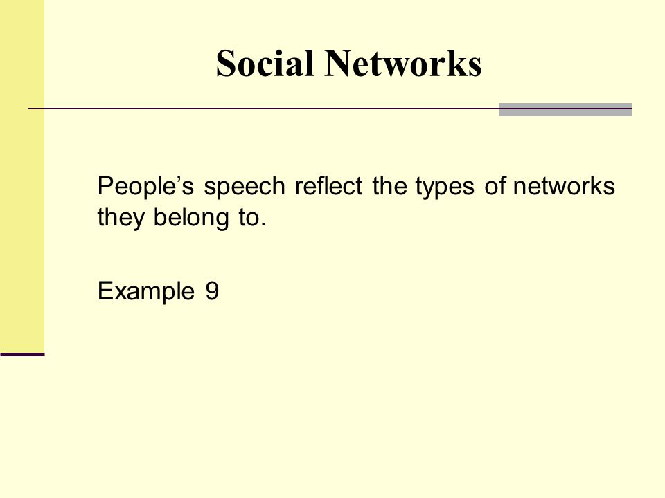 Social Networks People's speech reflect the types of networks they belong to. Example 9