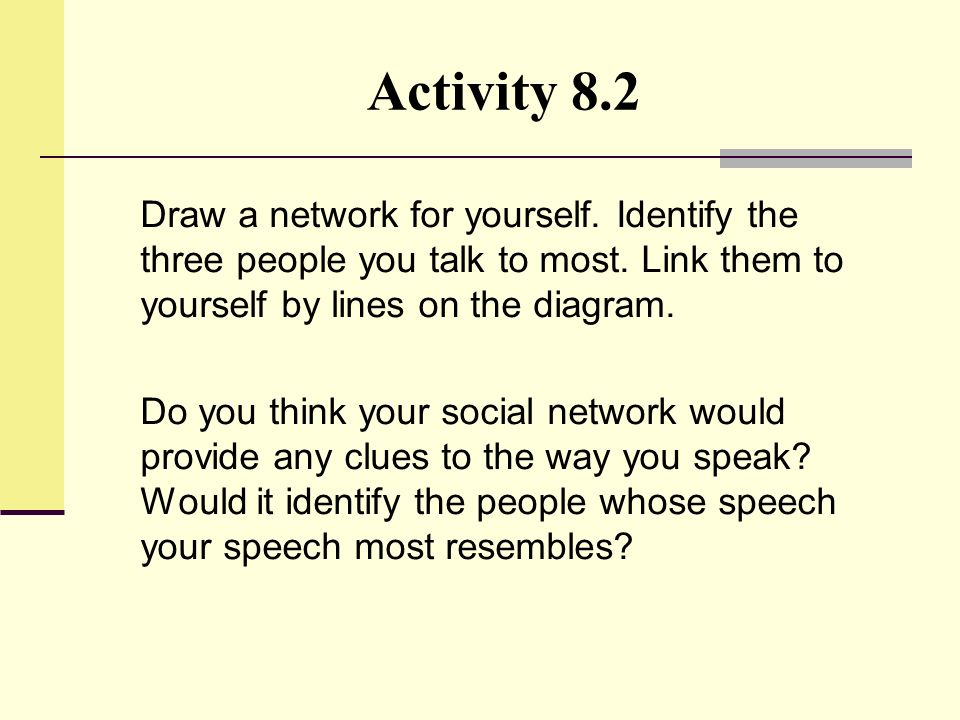 Activity 8.2 Draw a network for yourself. Identify the three people you talk to most. Link them to yourself by lines on the diagram.