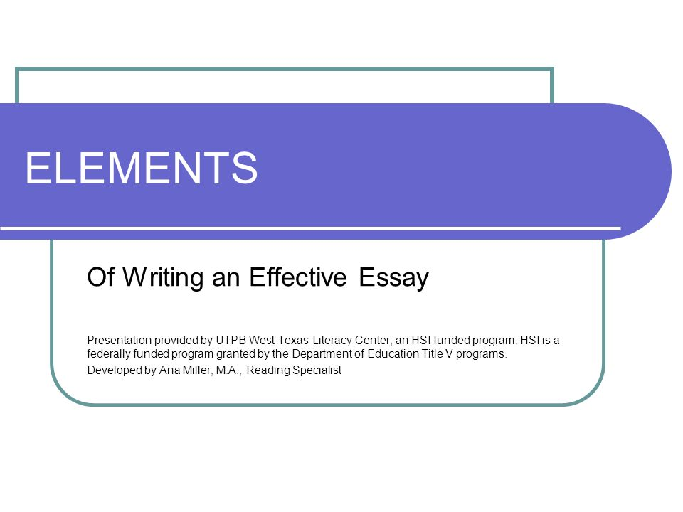 elements of an essay ppt