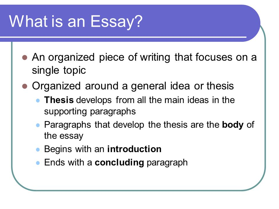 organize essay Organizing ideas and information clearly and logically in an essay, so that readers will understand and be able to follow the writer's thinking, is an essential stage.