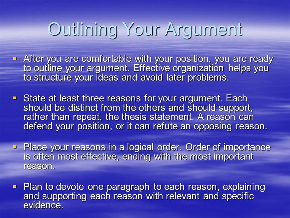 outlining your argument The art of structuring a well-written appellate argument  another paragraph or two outlining your argument, depending on the length and complexity of.