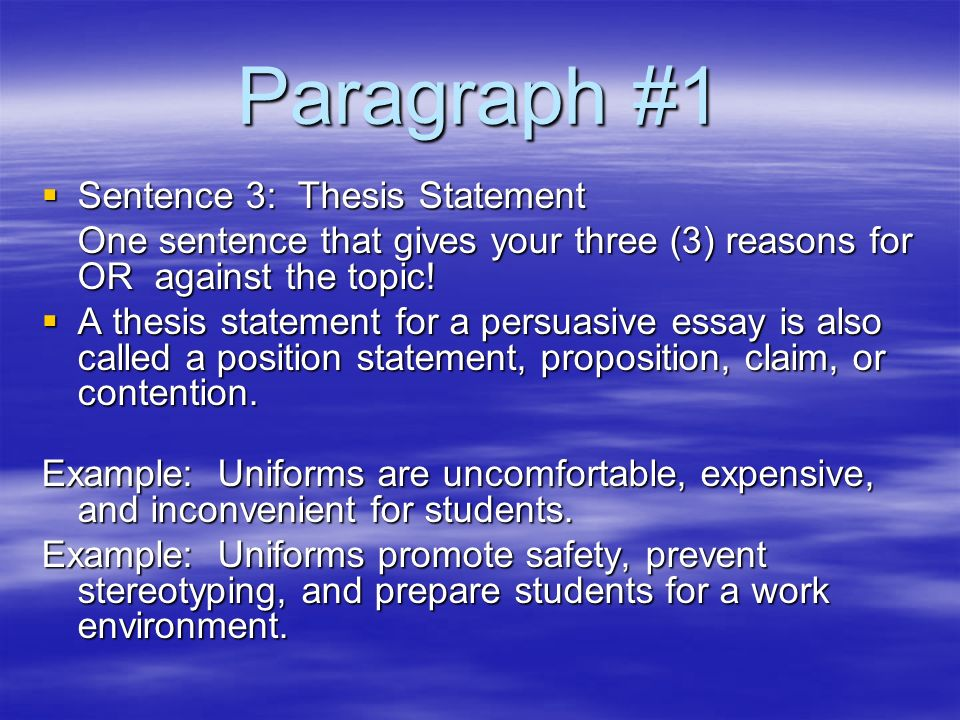 one sentence paragraph thesis This one sentence is a declaration of the main idea of your paper in an argumentative essay, it's your argument the thesis is like the sun.