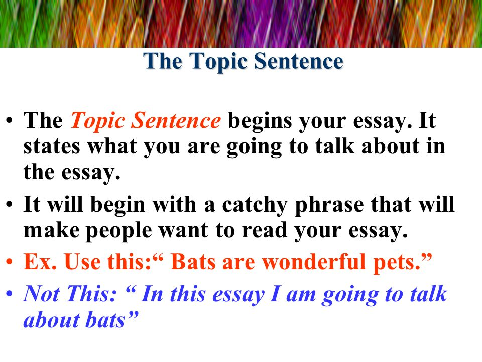 the five paragraph essay ppt video online  the topic sentence the topic sentence begins your essay it states what you are going